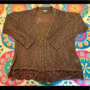 Loose Knit Brown Cardigan with Lace Edge - Size XL